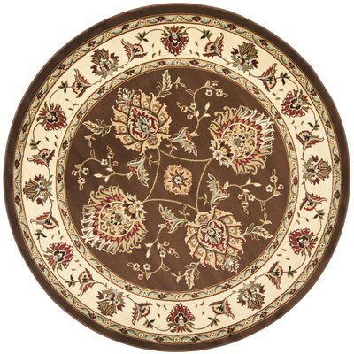 Ottis Brown/Ivory Area Rug Rug Size: Round 53