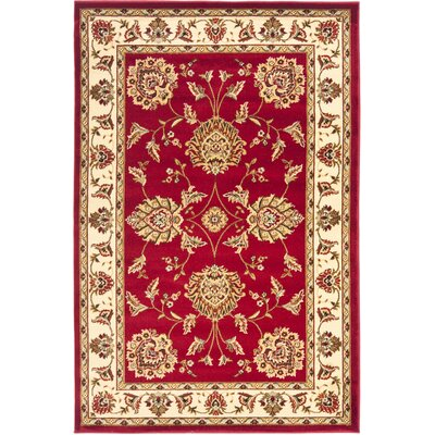 Ottis Red/Ivory Area Rug Rug Size: Rectangle 4 x 6