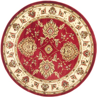 Ottis Red/Ivory Area Rug Rug Size: Round 53