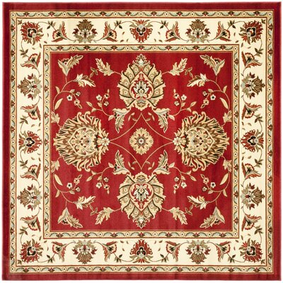 Ottis Red/Ivory Area Rug Rug Size: Square 67