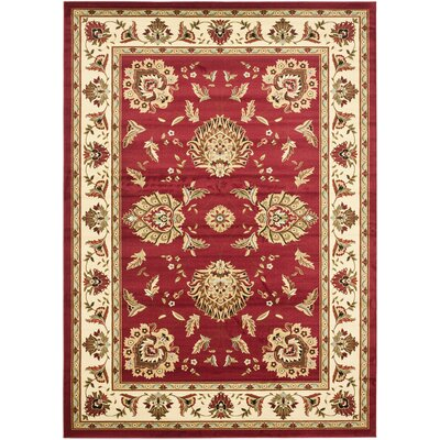 Ottis Red/Ivory Area Rug Rug Size: 53 x 76