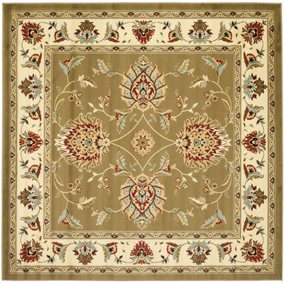Ottis Green/Ivory Area Rug Rug Size: Square 67