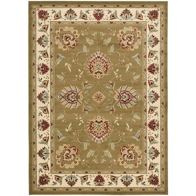 Ottis Green/Ivory Area Rug Rug Size: Rectangle 67 x 96