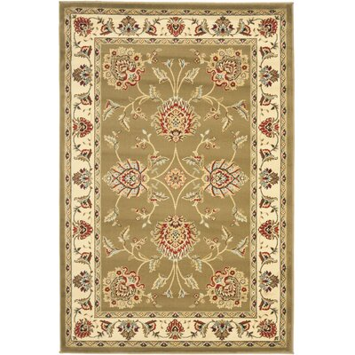 Ottis Green/Ivory Area Rug Rug Size: Rectangle 4 x 6