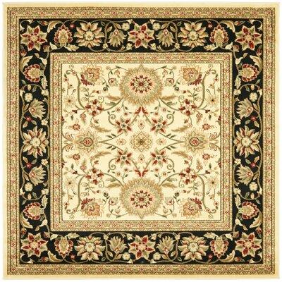 Ottis Ivory/Black Area Rug Rug Size: Square 8