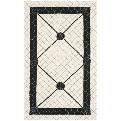 Parish Ivory/Black Geometric Area Rug Rug Size: Rectangle 39 x 59