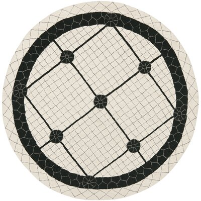 Parish Ivory/Black Geometric Area Rug Rug Size: Round 4
