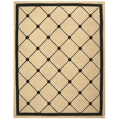 Parish Ivory/Black Geometric Area Rug Rug Size: 86 x 116