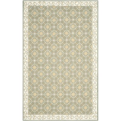 Parish Hand-Woven Cotton Olive/Beige Area Rug Rug Size: Rectangle 79 x 99