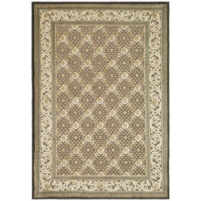 Patrick Ivory/Dark Brown Rug Rug Size: Rectangle 4 x 57
