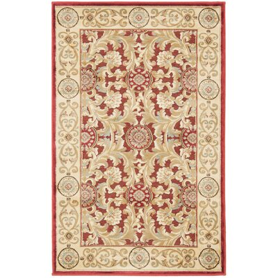 Patrick Red/Ivory Area Rug Rug Size: 33 x 47