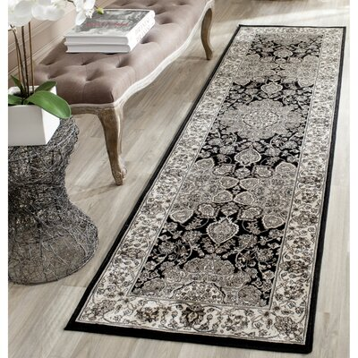 Petronella Black & Ivory Area Rug Rug Size: Runner 23 x 8