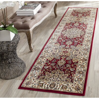 Petronella Red/Ivory Area Rug Rug Size: Runner 22 x 8