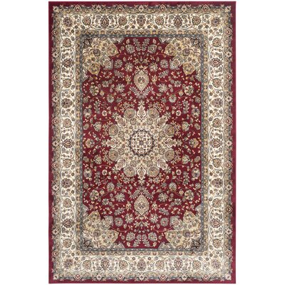 Petronella Red/Ivory Area Rug Rug Size: Rectangle 51 x 77
