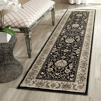 Petronella Black/Ivory Area Rug Rug Size: Runner 22 x 8
