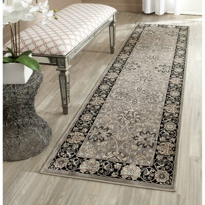 Petronella Gray & Black Area Rug Rug Size: Runner 22 x 8