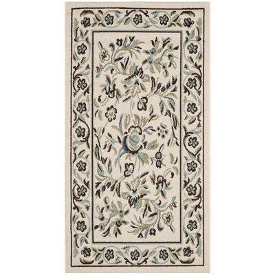 Rennie Cream / Green Indoor/Outdoor Area Rug Rug Size: Rectangle 27 x 5