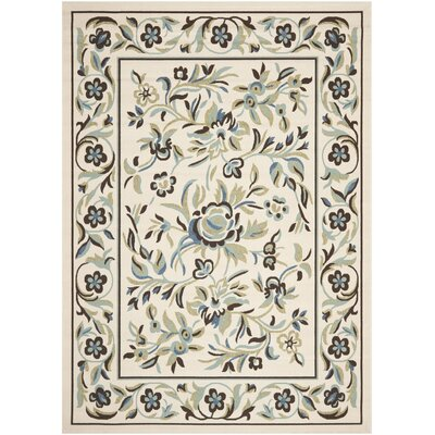 Rennie Cream / Green Indoor/Outdoor Area Rug Rug Size: 53 x 77