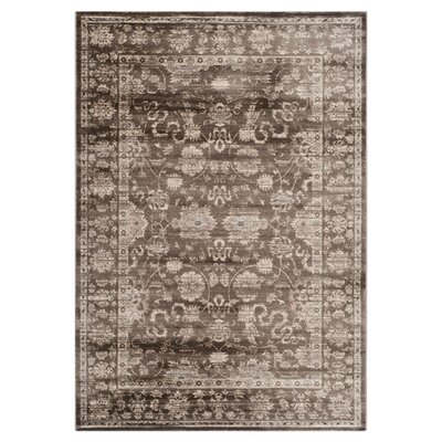Rindge Brown/Ivory Floral Area Rug Rug Size: Rectangle 67 x 92