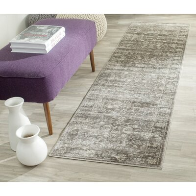 Rindge Brown/Ivory Floral Area Rug Rug Size: Runner 22 x 8