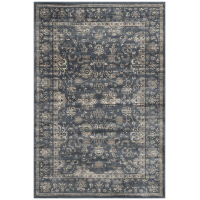 Rindge Dark Blue & Cream Area Rug Rug Size: 51 x 77