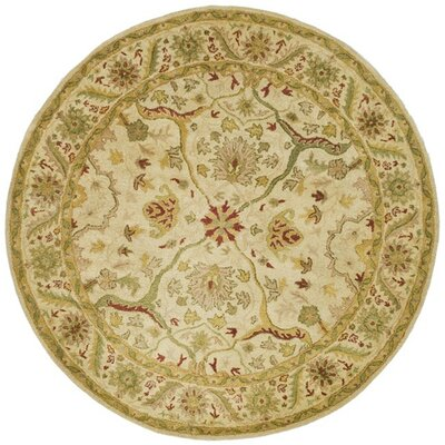 Dunbar Hand-Woven Wool Ivory Area Rug Rug Size: Round 6