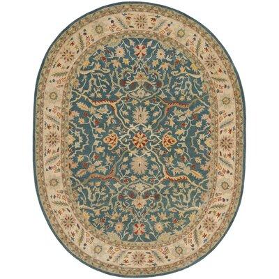 Dunbar Hand-Woven Wool Beige/Green Area Rug Rug Size: Oval 76 x 96