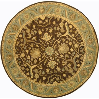 Dunbar Brown/Green Area Rug Rug Size: Round 8'