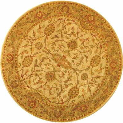 Dunbar Ivory/Light Green Area Rug Rug Size: Round 6