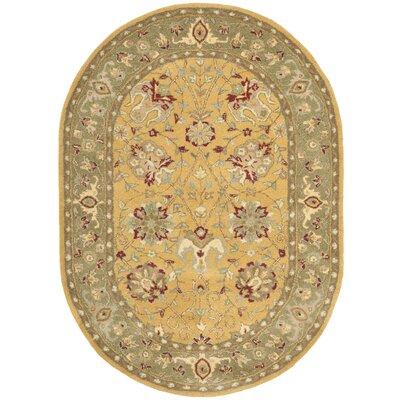 Dunbar Gold Area Rug Rug Size: Oval 46 x 66