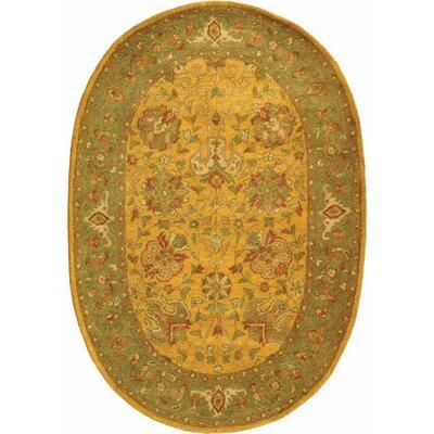 Dunbar Gold Area Rug Rug Size: Oval 76 x 96