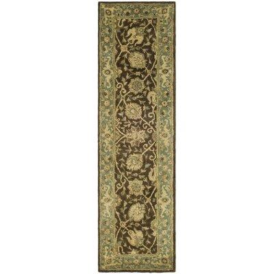 Dunbar Hand-Woven Wool Brown/Green Area Rug Rug Size: Runner 23 x 8
