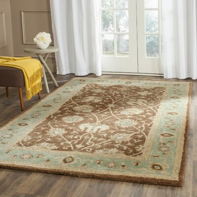 Dunbar Hand-Woven Wool Brown/Green Area Rug Rug Size: Rectangle 76 x 96