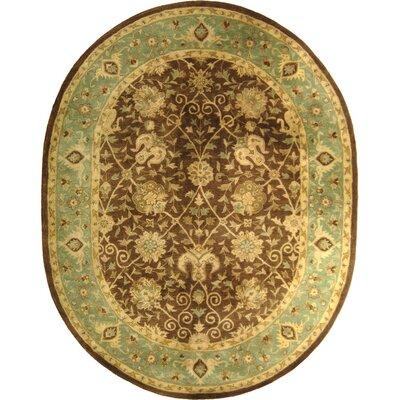 Dunbar Hand-Woven Wool Brown/Green Area Rug Rug Size: Oval 46 x 66