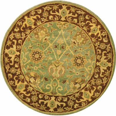 Dunbar Green/Brown Area Rug Rug Size: Round 4
