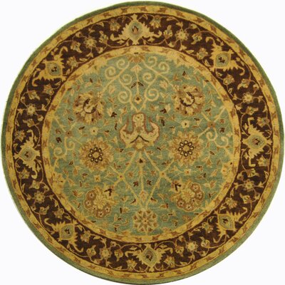 Dunbar Green/Brown Area Rug Rug Size: Round 6