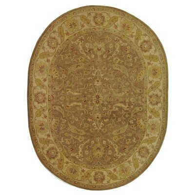 Dunbar Hand-Woven Wool Brown/Gold Area Rug Rug Size: Oval 76 x 96