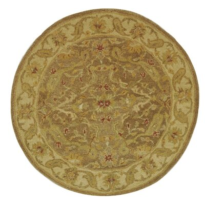 Dunbar Hand-Woven Wool Brown/Gold Area Rug Rug Size: Round 4