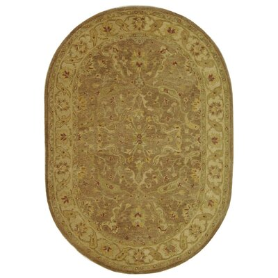Dunbar Hand-Woven Wool Brown/Gold Area Rug Rug Size: Oval 46 x 66