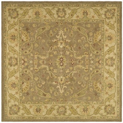 Dunbar Hand-Woven Wool Brown/Gold Area Rug Rug Size: Square 6