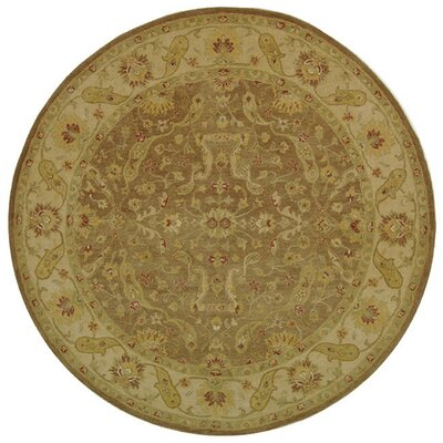 Dunbar Hand-Woven Wool Brown/Gold Area Rug Rug Size: Round 6