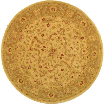 Dunbar Hand-Woven Wool Ivory/Brown Area Rug Rug Size: Round 6