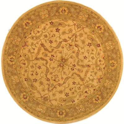 Dunbar Hand-Woven Wool Ivory/Brown Area Rug Rug Size: Round 4