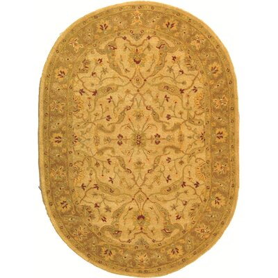 Dunbar Hand-Woven Wool Ivory/Brown Area Rug Rug Size: Oval 76 x 96