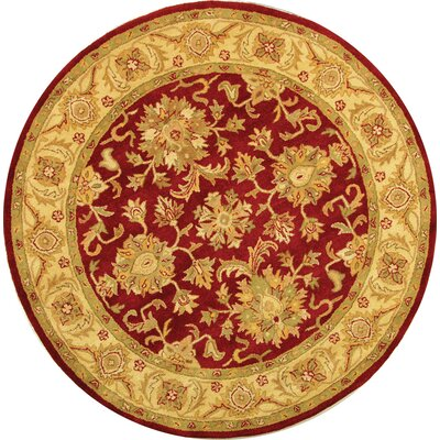 Dunbar Red/Gold Area Rug Rug Size: Round 6