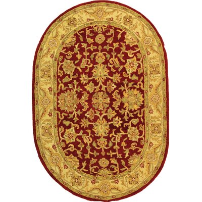 Dunbar Red/Gold Area Rug Rug Size: Oval 46 x 66