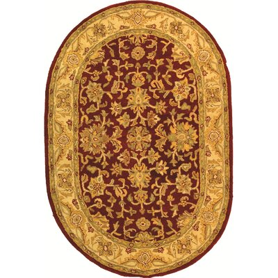 Dunbar Red/Gold Area Rug Rug Size: Oval 76 x 96