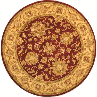 Dunbar Red/Gold Area Rug Rug Size: Round 4'