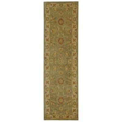 Dunbar Hand-Woven Wool Moss Green/Gold Area Rug Rug Size: Runner 23 x 12