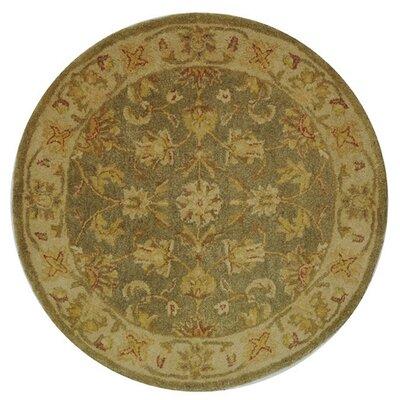 Dunbar Hand-Woven Wool Moss Green/Gold Area Rug Rug Size: Round 4
